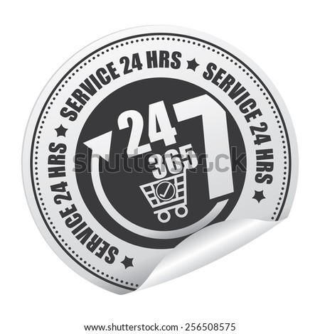 Black 24 7 365 Service 24 HRS Shopping Center or E-Commerce Service Sticker, Icon or Label Isolated on White Background  - stock photo