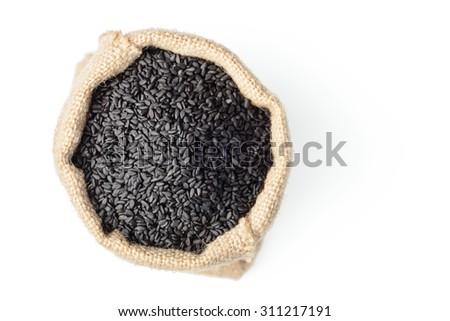 black sesame in the sack. top view - stock photo