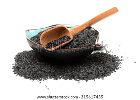 Black sesame on white background