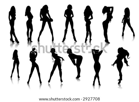 Black sexy girls icons,vector - stock photo