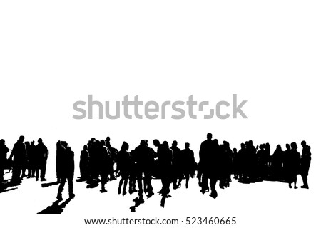 Black shadows of a large group of people walking and talking on a white background