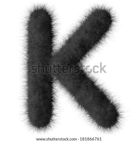 Black shag K letter isolated on white background - stock photo