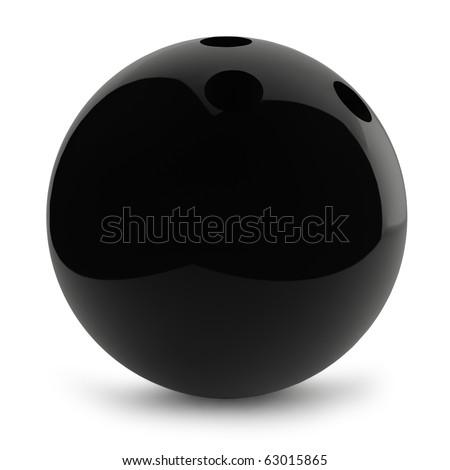Black shiny bowling ball isolated on white background. - stock photo