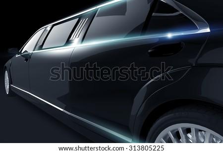 Black Shiny Limousine Illustration. Limo Side View Closeup.  - stock photo