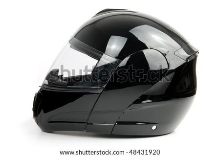 Black, shiny motorcycle helmet Isolated on white background - stock photo