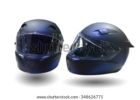 Black, shiny motorcycle helmet Isolated on white background. This has clipping path. - stock photo