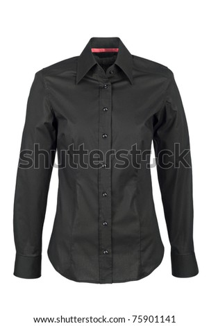 black  shirt with long sleeves isolated on white background - stock photo