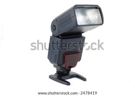 Black shoe flash unit isolated over a white background - stock photo