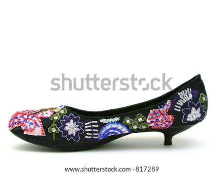 Black Shoe with Beads - stock photo