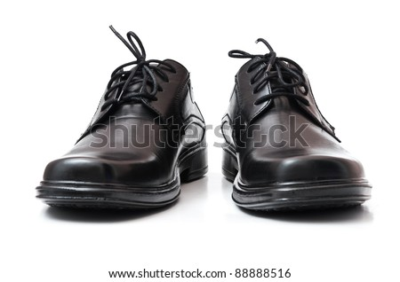 Black shoes. Isolated on the white background - stock photo