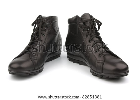 Black shoes isolated on white, easy and convenient
