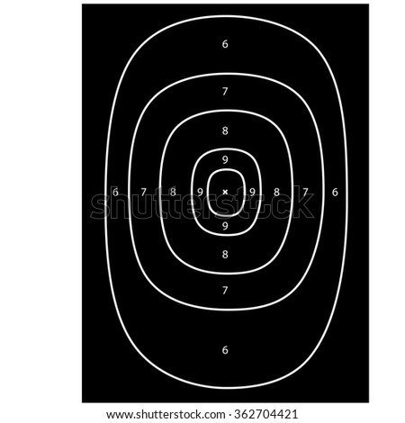 Black shooting target raster, shooting range, bullseye, gun target - stock photo