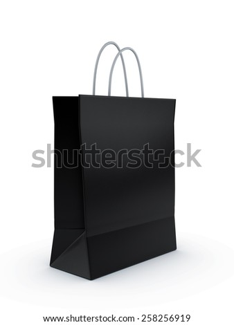 Black shopping bag 3d render isolated on white background.
