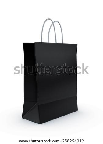 Black shopping bag 3d render isolated on white background.  - stock photo