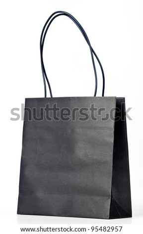 Black shopping bag on white. - stock photo