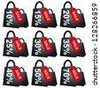 Black Shopping Bag With Red Sale Tag and 10 - 70 Percent Discount Isolated on White Background - stock photo
