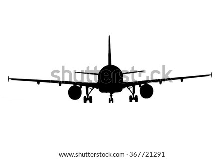 Black silhouette airliner isolated on white background