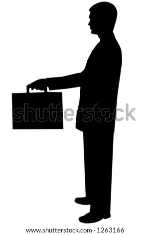 black silhouette man on white