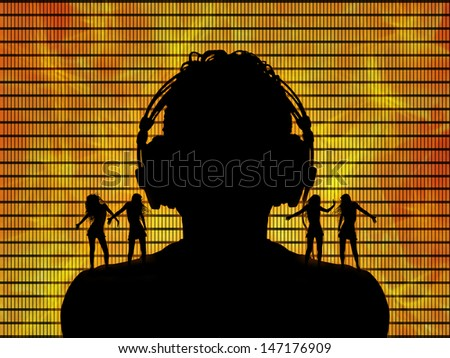 black silhouette of a dj in headphones with go go dancers dancing on his shoulders on hot fire background - stock photo