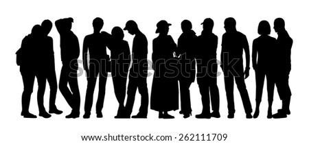 black silhouette of a large group of people talking standing in different postures - stock photo