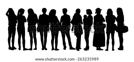 black silhouette of a large group of young women only talking standing in different postures - stock photo