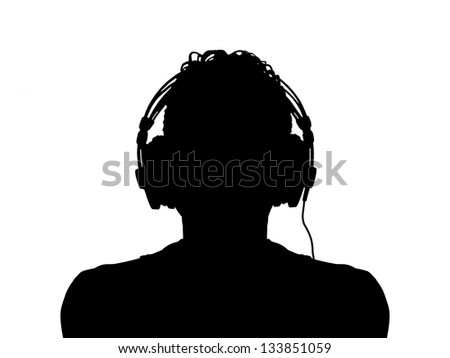black silhouette of a man in headphones - stock photo