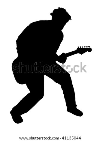Black silhouette of a playing guitarist, on white background - stock photo