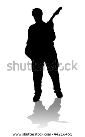 Black silhouette of a playing guitarist, on white background, with reflection - stock photo