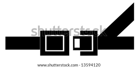 black silhouette of a seatbelt - indicating to buckle up - stock photo
