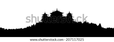 black silhouette of a traditional Tibetan Buddhist monastery on the hill covered with vegetation, large panoramic view - stock photo