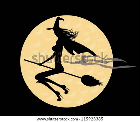black silhouette of a witch on a broom