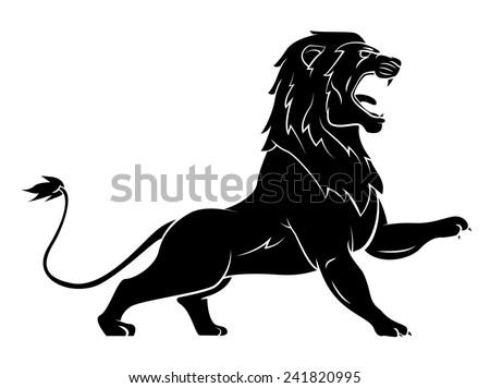 Black Silhouette Of Lion - stock photo
