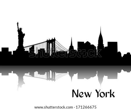 Black silhouette of skyline of New York, USA - stock photo