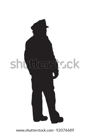 Black silhouette on white background of a uniformed police officer. - stock photo