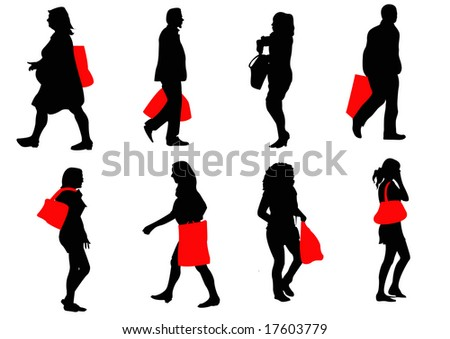 black silhouette shoppers with red bags - stock photo