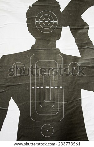 Black silhouette target person with scores - stock photo