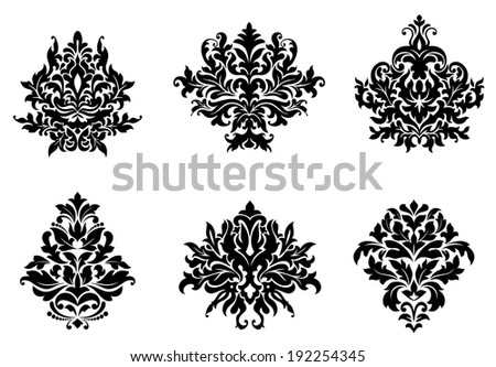 Black silhouetted floral and foliate damask design elements. Vector version also available in gallery - stock photo