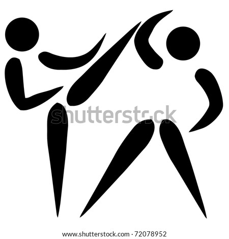 Black silhouetted karate or taekwondo sign or symbol; isolated on white background. - stock photo
