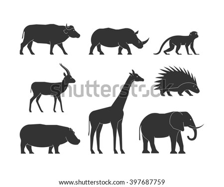 Black silhouettes african animals. Black figure african animals. Icon buffalo, rhino, monkey, gazelle, giraffe, porcupine, hippo and elephant. Silhouettes african animals isolated.