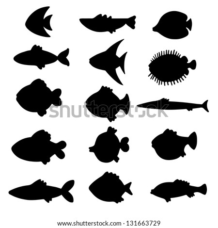 Black silhouettes fish set. Icons. Abstract design logo. Logotype art - raster version