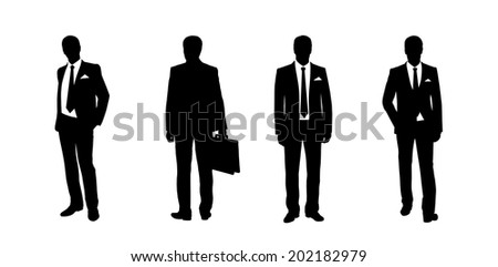 black silhouettes of a businessman standing in different postures, front and back views