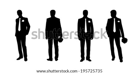 black silhouettes of a groom in different postures, front and back views - stock photo