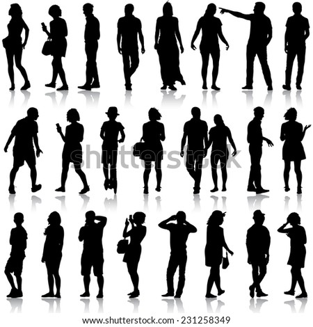 Black silhouettes of beautiful mans and womans on white background.  illustration.