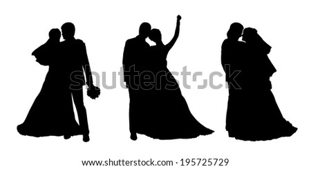 black silhouettes of bride and groom together in various postures, front and profile views - stock photo