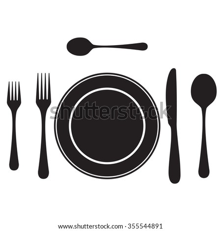 Black silhouettes of cutlery, tableware. Table setting. Etiquette. Top view. Elements for design: plate, fork, spoon, knife. - stock photo