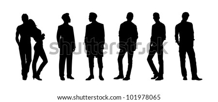 Black silhouettes of men and woman - stock photo