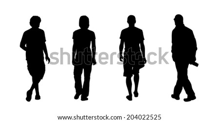 black silhouettes of ordinary men walking outdoor, back view - stock photo