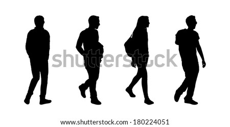 black silhouettes of ordinary teen girl and boys walking outdoor; back and profile views - stock photo