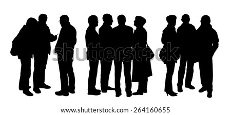 black silhouettes of three groups of different senior people standing and talking to each other - stock photo
