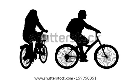 black silhouettes of two women riding a bicycle in the city